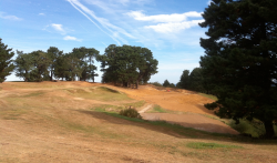 For a week or so, both greens – the original (left) and the re-creation (right) – appeared side by side, until the original had to be removed to facilitate access to the new 11th tee complex.