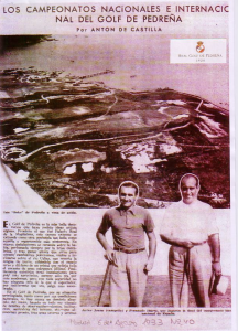 A newspaper article from 1933 shows the dramatic 10th green with its two cavernous bunkers in the lower left portion of the photo – and the general lack of trees on the whole course!